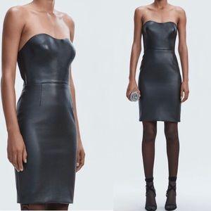 Black Leather Strapless Dress
